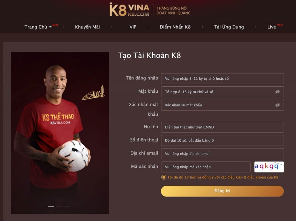 Việc đăng ký tài khoản tại K8 rất đơn giản