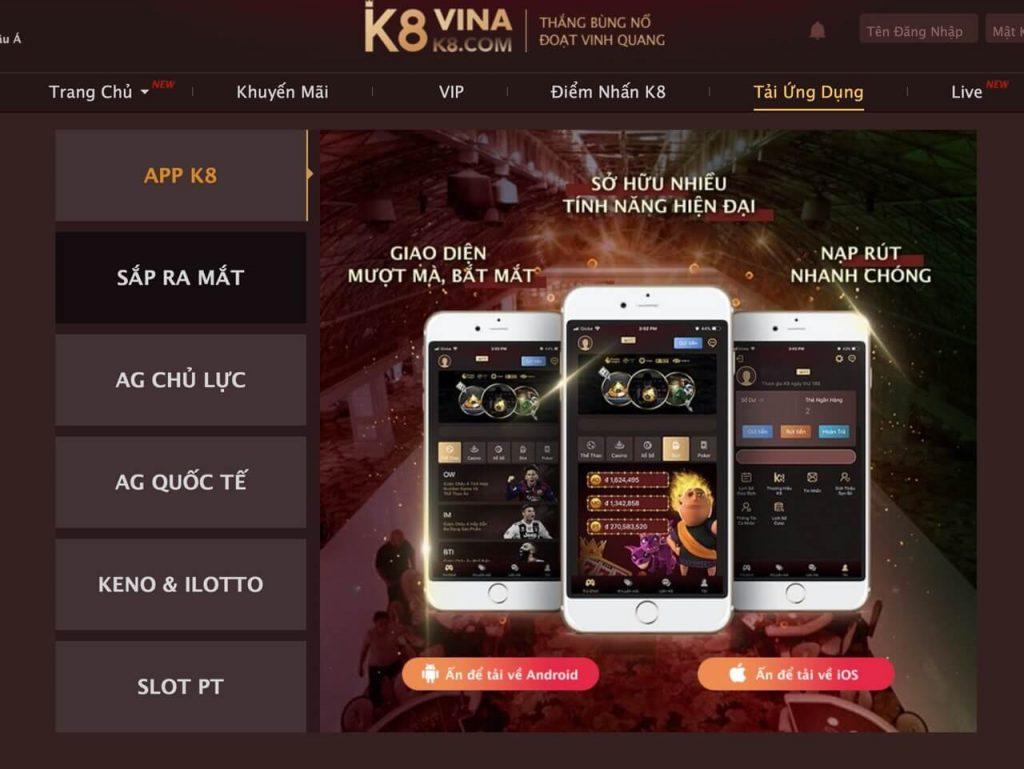 Giao diện tải phần mềm K8