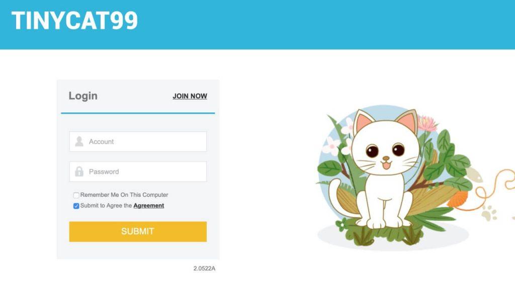 Giao diện trang chủ Tinycat99