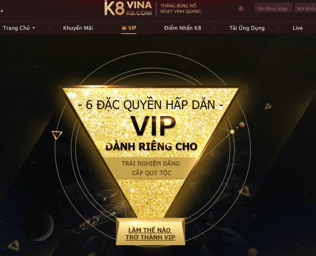 Hệ thống VIP K8 chuyên nghiệp với nhiều đặc quyền cho người chơi VIP