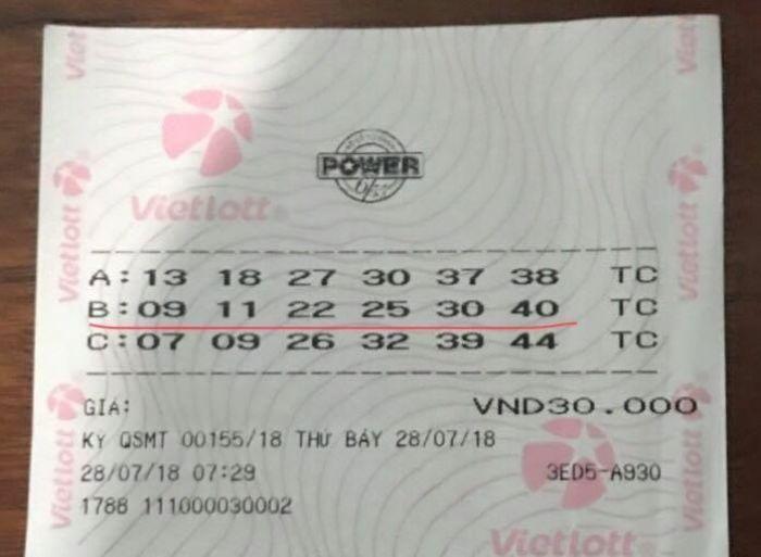 Các dãy số trúng thưởng của Vietlott